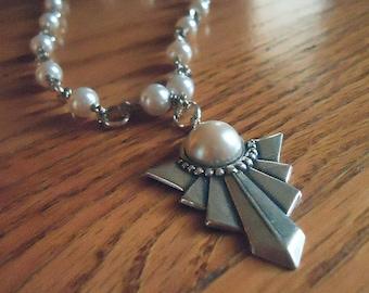 Pearl Necklace - Chevron Pendant Jewellery - Wedding Jewelry - Classic - June Birthstone