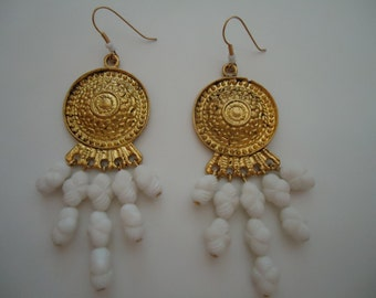 White Earrings - Yellow Gold Jewelry - Chandelier - Unique Handcrafted Jewellery - Gypsy - Gift Ideas for Her - Chunky