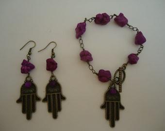 Purple Turquoise Bracelet  - Hand of Fatima Jewellery - Brass Jewelry - Gemstone - Gift Set - Hanukkah Gift - Luck - Protection