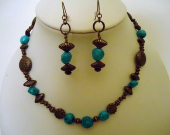 Turquoise Necklace - Brass Jewelry - Gemstone Jewellery - Necklace Earring Combo Set - Beaded