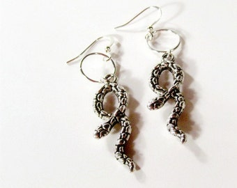 Snake Earrings - Silver Jewelry-  Goth - Asp - Handmade Jewellery - Steampunk - Affordable - Halloween