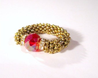 Red Crystal Ring Gold Jewelry R-1