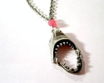 Shark Necklace Jaws Pendant Moveable Shark Teeth Jewelry Silver Chain Jewellery Ocean Fish Shark Week