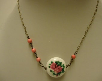 Pink Porcelain Necklace - Pink Necklace - Brass Jewelry - Flower Jewellery - Asymmetric - Pendant - Heart - Chain - Fashion