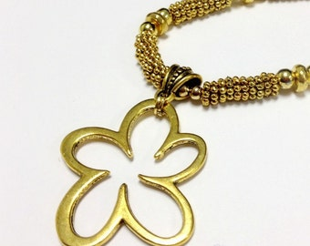 Gold Necklace - Flower Pendant Jewelry - Fashion Jewellery - Chunky Drop Medallion Modern Handcrafted Statement Everyday