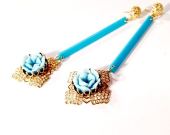 Teal Earrings - Flower Jewellery - Art Deco Jewelry - Gold - Fashion - Mod - Long