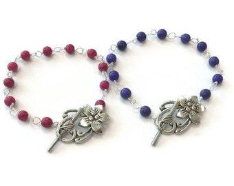Turquoise Bracelet - Turquoise Jewelry - Bridesmaid Jewelry - Graduation - Pink Purple Silver Gemstone Jewellery - Wedding - Flower B-78 79