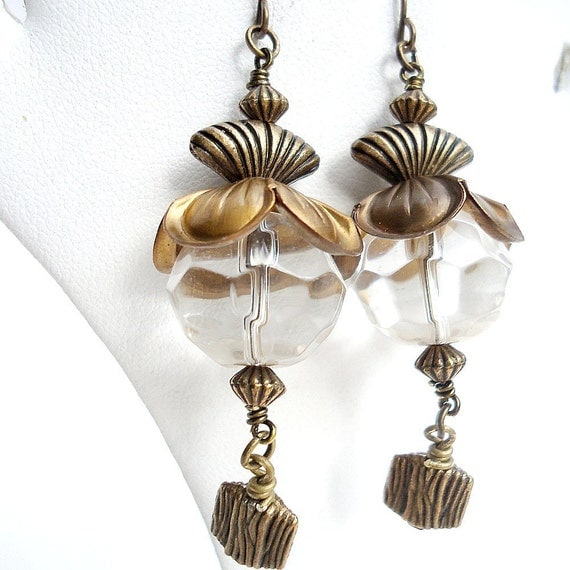 Brass Earrings Glass Jewelry Vintage Style Jewellery Winter Gift Ice Shopping Vintage Beadcaps Clear Dangle
