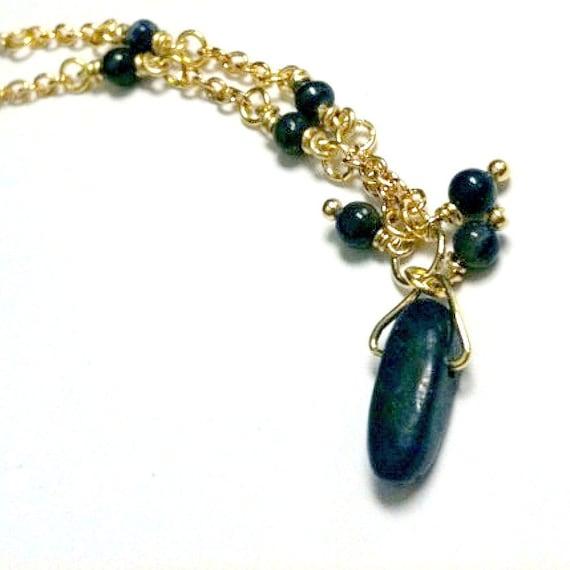 Lapis Necklace - Navy Blue Jewelry - Spike Pendant Jewelry - Point - Gold Jewellery - Lapis Lazuli Gemstone