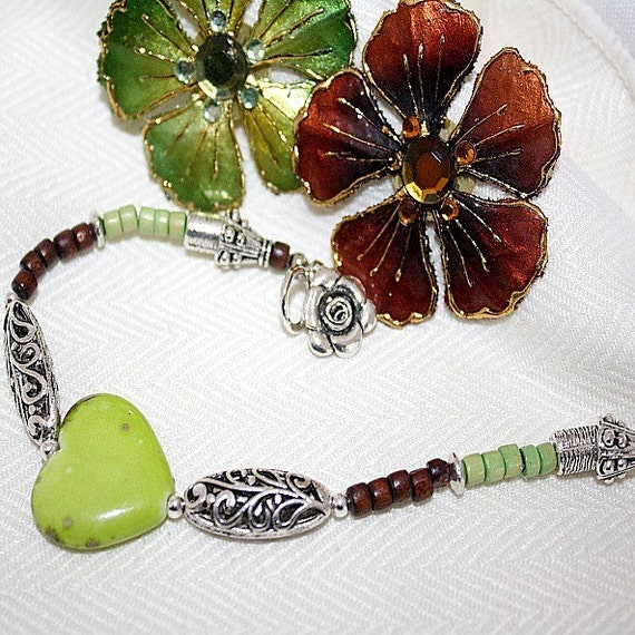 Lime Green Bracelet Brown Wood Jewellery Silver Jewelry Heart Turquoise Natural Gemstone Flower Charm Filigree Valentine