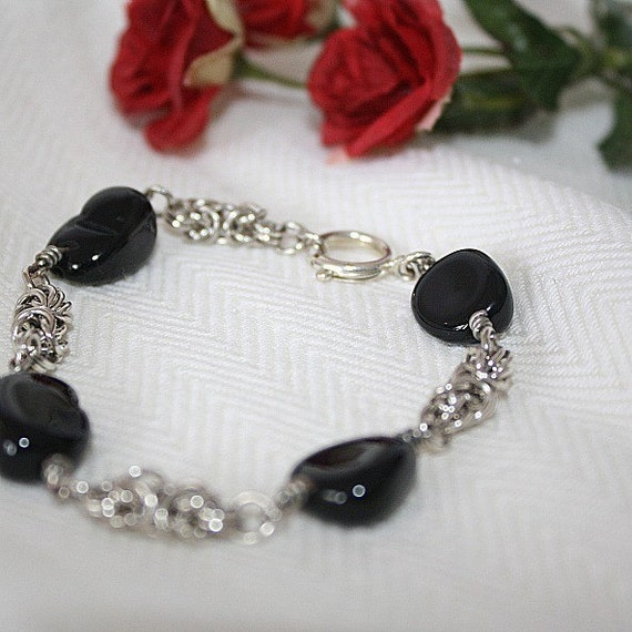 Black Bracelet Silver Chainmaille Jewelry Unique Handcrafted Jewellery Nuggets Byzantine Chain