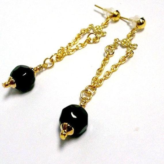 Black Earrings - Chandelier Jewellery - Gold Jewelry -  Fashion - Gift - Wedding - Bridesmaid - Flower