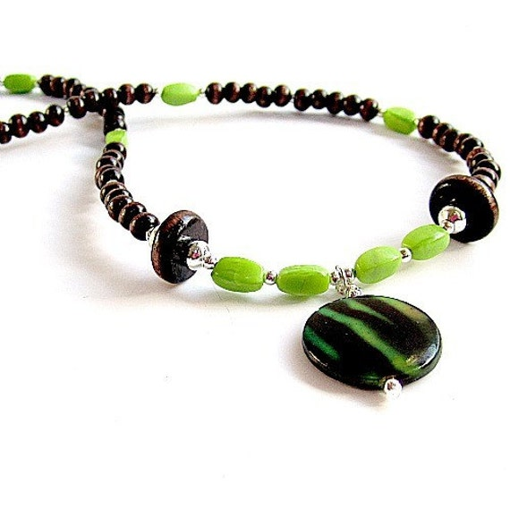 Silver Lime Wood ~ Brown and lime green necklace silver jewelry wood bead by