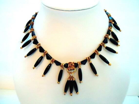 Black Bib Necklace - Fringe Jewellery - Tribal Jewelry - Gold Spike - Fringe - Gemstone - Fashion