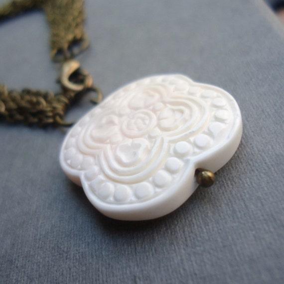 Brass Bracelet - Coral Carved Gemstone Charm - Chain Jewellery - Oriental Jewelry - Chinese B-72