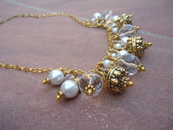 Cluster Necklace - Pearl Jewellery - Yellow Gold Jewelry - Wedding - June Birthstone - Bauble N-1