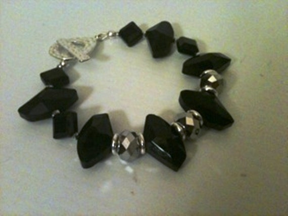 Black Bracelet - Crystal Jewelry - Silver Jewelry - Chunky Jewellery - Black and Silver - Luxe Elegant