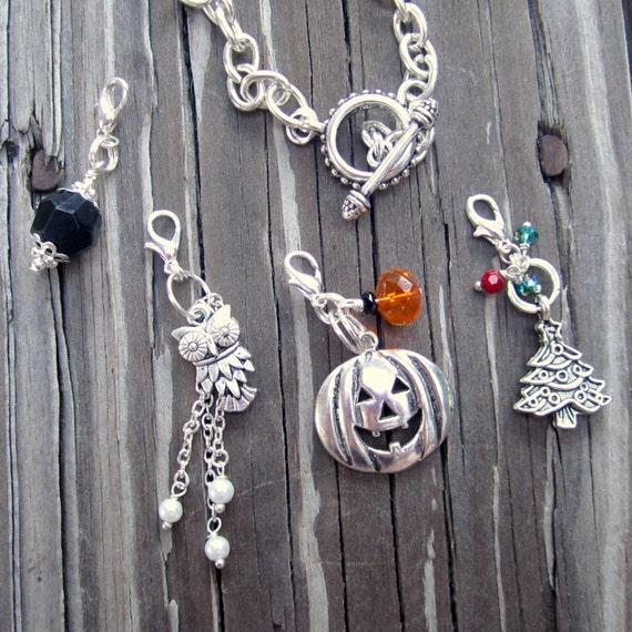 Charm Bracelet - Silver Jewellery - Changeable Charm Jewelry - Owl - Pumpkin - Christmas Tree  B-22