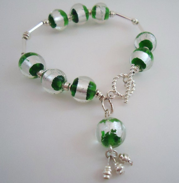 Green Bracelet - St. Patrick's Day - May Birthstone-  Silver Jewelry - Unique Jewellery Lampwork Glass Beads Dangle
