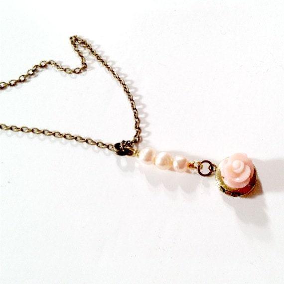 Peach Necklace - Pearl Jewelry - Locket - Pendant - Wedding Jewellery - Bridesmaid Jewelry Brass Chain Coral Flower Salmon Dainty  N-70