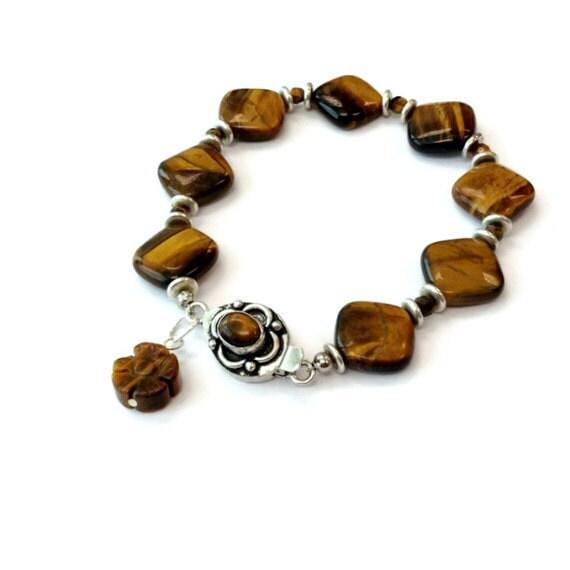 Brown Bracelet Tigers Eye Gemstone Jewelry Flower Charm Silver Jewellery Box Clasp Earth Tones Fashion B-81