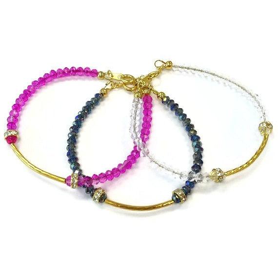 Crystal Bracelet - Bridesmaid Jewellery - Dainty - Yellow Gold Jewelry - Wedding - Stack - Layer