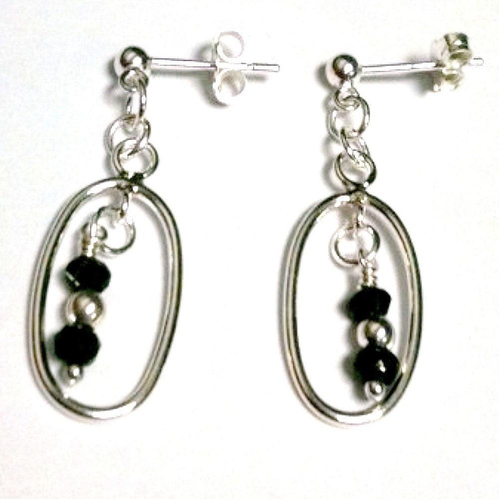 black spinel earrings sterling silver jewelry gemstone