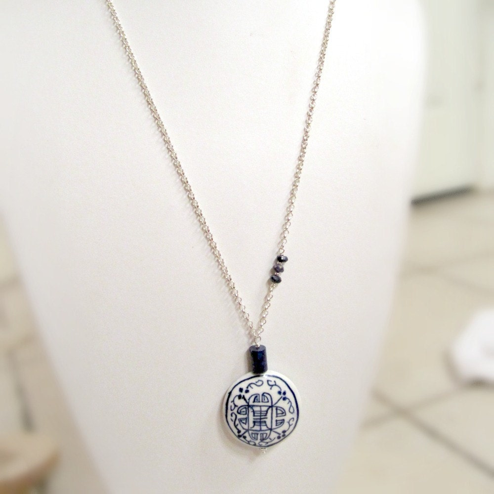 navy blue necklace lapis necklace jewelry silver