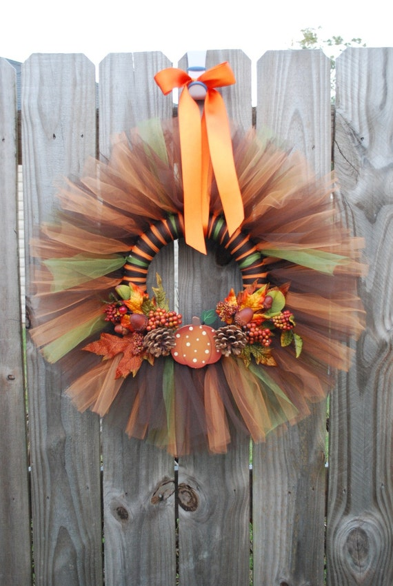 Fall Tulle Wreath by JaneJanes on Etsy