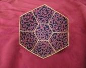 Gothic Filigree hexagonal reversible fabric bowl