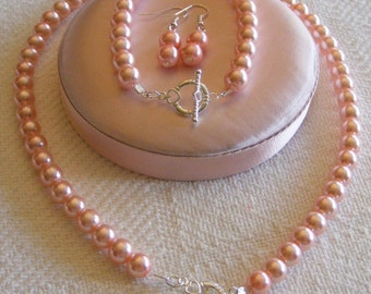 Wedding Jewelry 8mm Swarovski Pink Pearl Bridesmaid Set Made to Order - Necklace Bracelet and Earrings