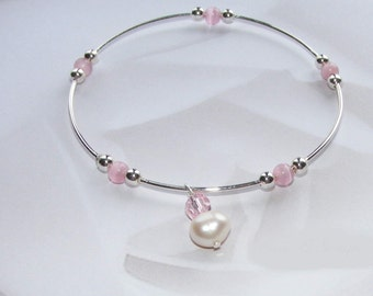 Silver Bangle with Cultured Pearl Drop and Crystal Drop - For Small Wrist