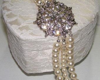 The Danielle Triple Strand Bridal Bracelet- Rhinestone Brooch and Swarovski Crystal Pearls - Fits 6.5 to 7.5 inch wrist - READY TO SHIP