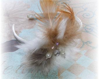 Hollywood Glam Look Feathered Bridal Headband - Bridesmaid headband - Jeweled Faux Mink & Feathers - Ready to Ship