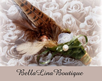 SALE - Groom / Groomsman Feathered and Freshwater Pearl Boutoniere - PROM Boutoniere Priority Shipping