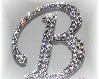 Swarovski Crystal Cake Topper - 3 in. - Any Letter A-Z - Font is Monotype Corsiva