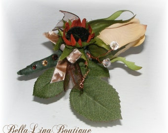 Grooms Fall Wedding Boutonniere - Fall Prom Boutonniere