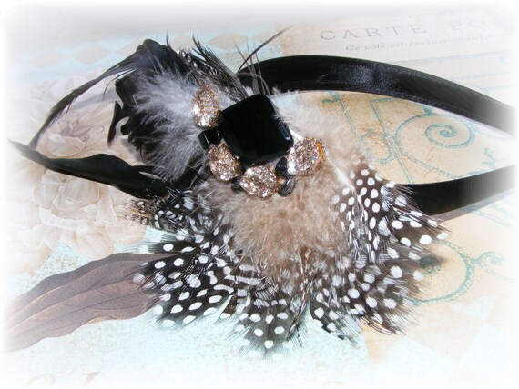 Custom Listing for Audra - Hollywood Glam Look Guinea Feather Headband Headband  - Ready to Ship