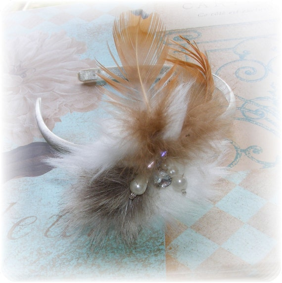 Clearance Sale - Hollywood Glam Look Feathered Bridal Headband - Bridesmaid headband - Jeweled Faux Mink & Feathers - Ready to Ship
