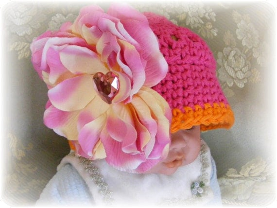 Clearance Sale - Boutique Hair Flower Clip with Center Heart Bling - Hat Not Included - Photography Prop