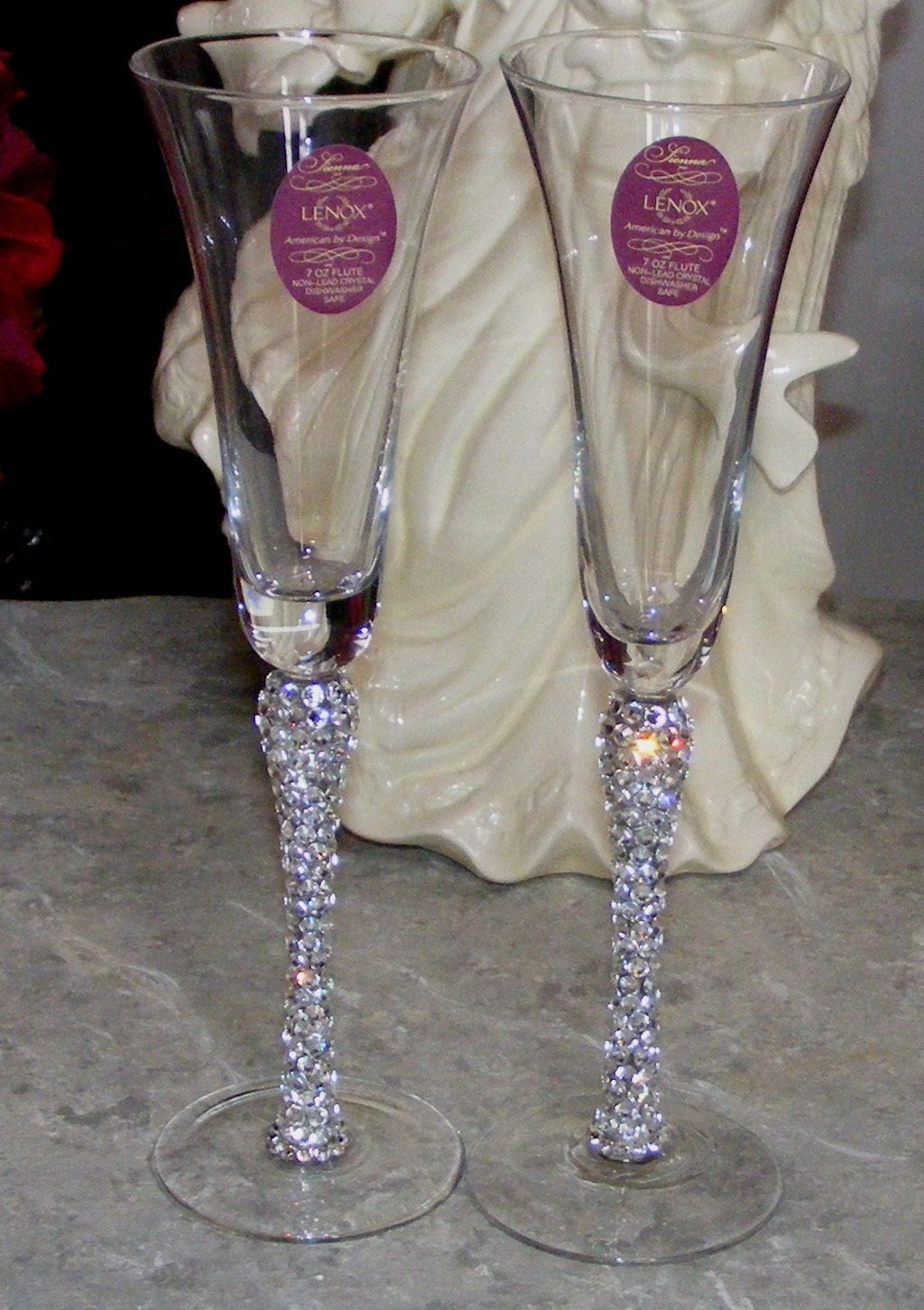 lenox crystal wedding toasting flute set swarovski crystal