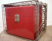 Vintage Industrial STORAGE metal box..... raspberry red