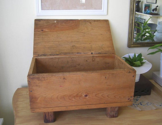 Vintage Wood Box Fruit Crate with legs and hinged lid