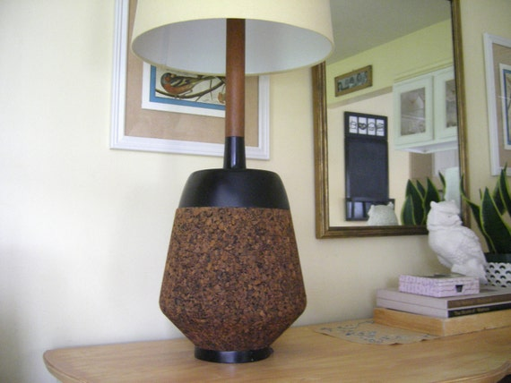 Mid-Century Modern lamp cork with black accents