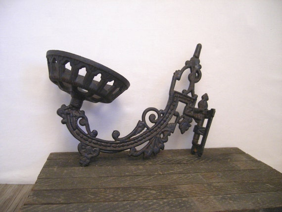 Vintage Eastlake cast iron sconce       oil lamp holder.        ornate        Paris Apartment.......