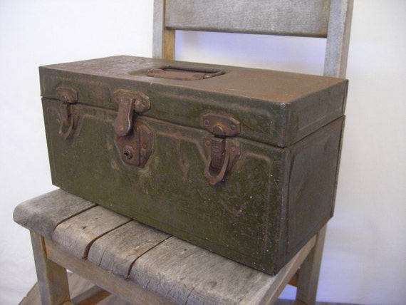 Industrial army green Metal Tool box        tray       patina      industrial storage