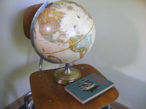 vintage Replogle world globe..........pastel colors w raised topography