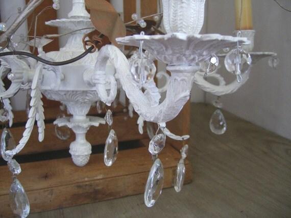 Vintage crystal chandlier .....shabby white bronze....ornate
