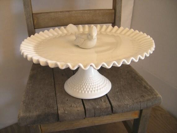 "Vintage Fenton cake pedestal milk glass with ""pie crust"" ruffled edge"