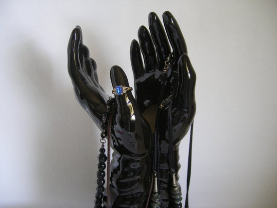 Vintage Jewelry Display.......... Hands................ceramic black